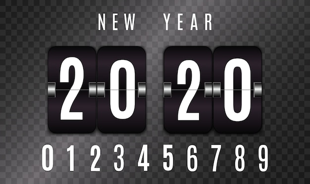 Tableau de bord mécanique. ensemble de nombres isolés sur fond transparent. compteur d'heures conception de compte à rebours vintage rétro avec le temps. nombres. modèle