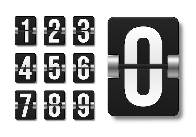 Tableau de bord mécanique noir avec différents numéros de conception illustration