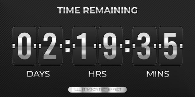 Tableau de bord de la minuterie de compte à rebours avec tableau de bord des jours heures minutes temps restant modèle de vente
