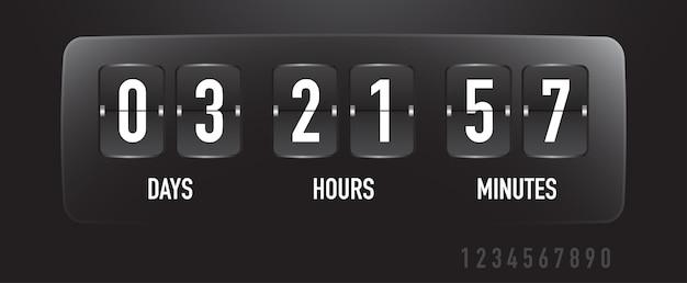 Tableau de bord de la minuterie de vente de compte à rebours avec tableau de bord des jours heures minutes modèle de temps restant