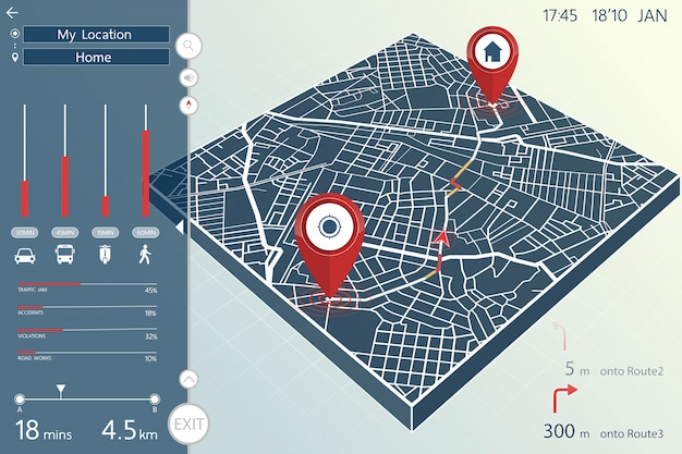 Tableau de bord de la page de navigation et d'information gps