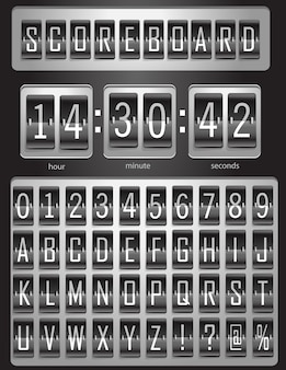 Tableau de bord, planche de sport avec un ensemble complet d'alphabet anglais et de chiffres de 1 à 9 en couleurs noir et blanc. illustration