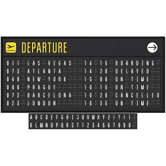 Tableau de bord réaliste d'aéroport ou de chemin de fer avec symboles flip - tableau de départ