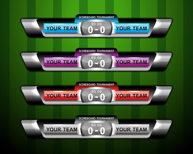 Tableau de bord et tiers inférieur pour le football sportif et le football