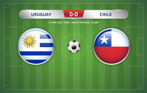 Le tableau de bord uruguay vs chili a diffusé le tournoi de football des amériques du sud 2021