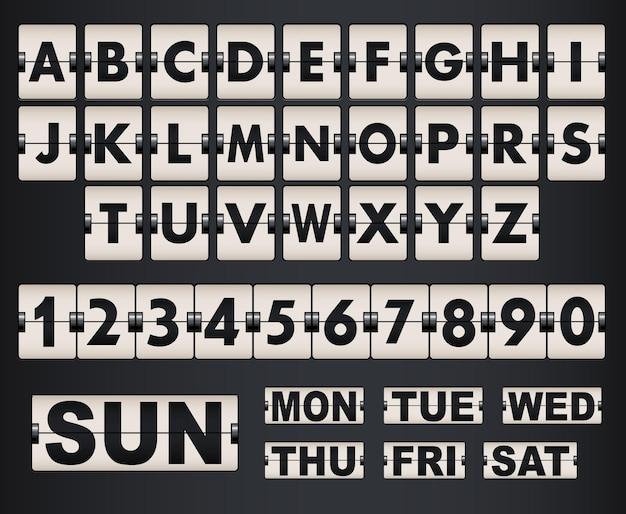 Tableau de bord vectoriel lettres et symboles alphabet panneau mécanique