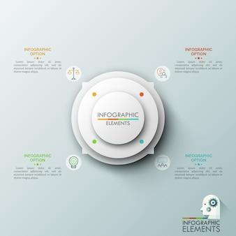Tableau circulaire avec 4 flèches pointant sur des pictogrammes et des zones de texte en traits fins. concept de pointeur ou outil de navigation de site web utilisateur.