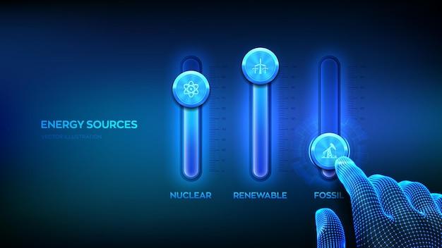 Tableau de commande des sources d'énergie pour les combustibles fossiles, les combustibles nucléaires et les énergies renouvelables. concept de secteurs de l'industrie de l'énergie. la main filaire ajuste un mélangeur de sources d'énergie. console de mixage. illustration vectorielle.