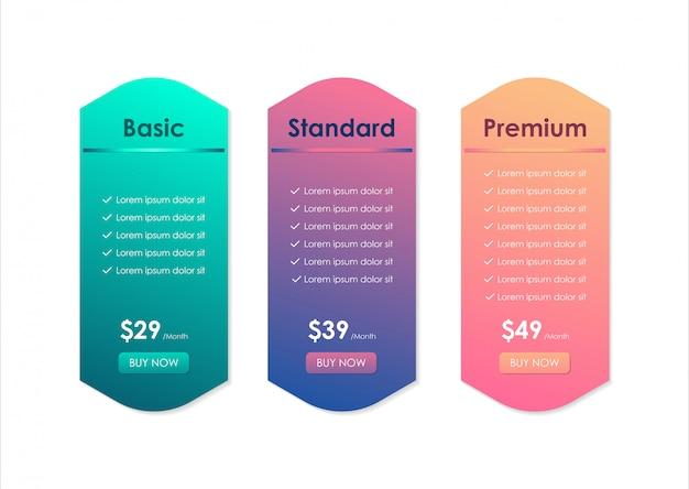 Tableau de comparaison des prix, modèle de tableau de prix pour le site web, les applications et les entreprises