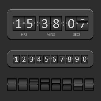 Tableau de compte à rebours noir et illustration vectorielle de minuterie