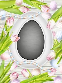 Tableau de craie et œufs.