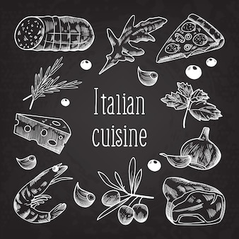 Tableau de doodle de croquis de cuisine italienne