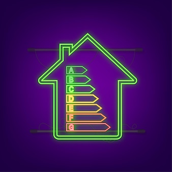 Tableau d'efficacité énergétique et concept de maison. vecteur d'icône de maison. énergie solaire. maison verte. icône néon. illustration vectorielle de stock.