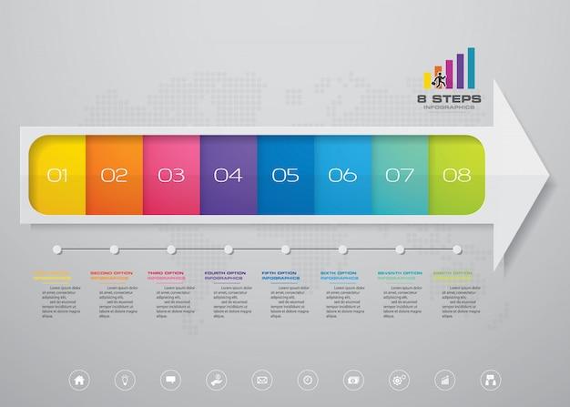 Tableau des éléments infographiques en 8 étapes pour présentation.