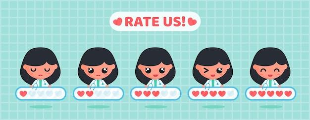 Tableau d'évaluation de l'amour pour l'enquête de satisfaction de la clientèle du service médical avec un personnage de docteur mignon