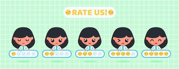 Tableau d'évaluation des émoticônes de sourire pour l'enquête de satisfaction de la clientèle du service médical avec un médecin mignon