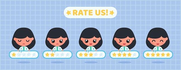 Tableau d'évaluation par étoiles pour l'enquête de satisfaction de la clientèle sur les services médicaux à caractère médical
