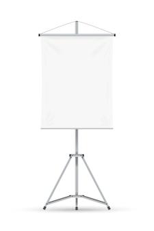 Tableau à feuilles. tableau blanc vierge avec feuille de papier vide sur trépied. cadre de tableau de conférence vertical. concept d'éducation, présentation d'entreprise, conférence et séminaire