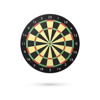 Tableau de fléchettes classique avec vingt secteurs. fléchettes réalistes. concept de jeu. illustration sur fond blanc
