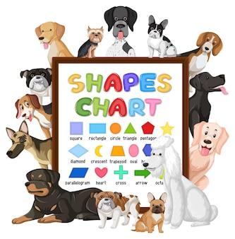 Tableau des formes avec de nombreux chiens mignons