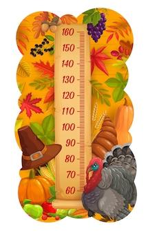 Tableau de hauteur des enfants dinde de thanksgiving, récolte et mètre de croissance des feuilles d'automne. règle d'autocollant mural vectoriel pour la mesure de la hauteur des enfants avec une récolte automnale, une échelle avec de la citrouille, des fruits et une corne d'abondance