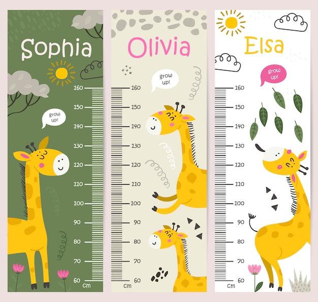 Tableau de hauteur des enfants avec des girafes