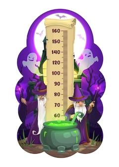 Tableau de hauteur des enfants d'halloween, sorciers de dessins animés
