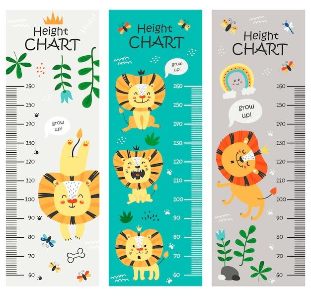 Tableau de hauteur des enfants avec des lions
