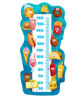 Tableau de hauteur des enfants, personnages de dessins animés de restauration rapide
