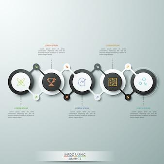 Tableau horizontal avec 5 éléments circulaires en couleurs noir et blanc reliés par des flèches, des symboles en traits fins et des zones de texte. concept d'étapes stratégiques.