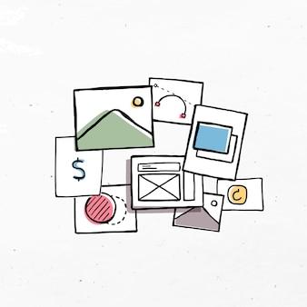 Tableau d'humeur coloré avec un design d'art doodle