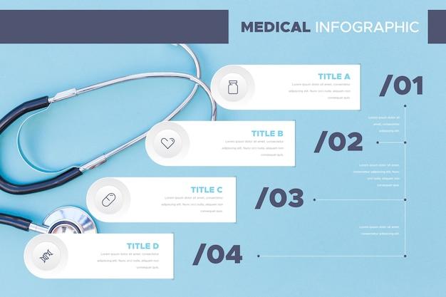 Tableau d'infographie stéthoscope médical
