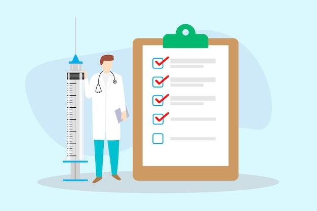 Tableau de liste de contrôle avec médecin et seringue, concept de liste de contrôle de santé