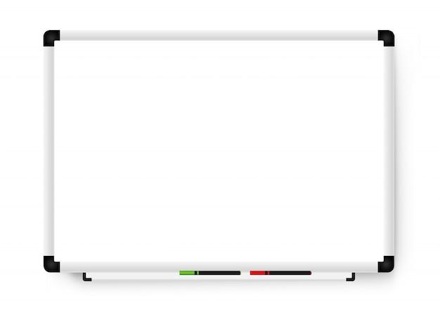 Tableau de marqueur blanc vide sur fond blanc. tableau blanc de bureau réaliste
