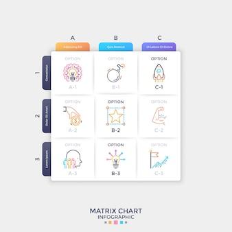 Tableau matriciel blanc en papier carré avec des symboles de ligne mince colorés à l'intérieur des cellules. tableau avec 9 options au choix. modèle de conception infographique propre. illustration vectorielle pour présentation, site web.