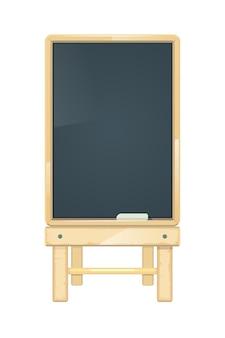 Tableau de menu vide de vecteur, tableau noir dans un cadre en bois.