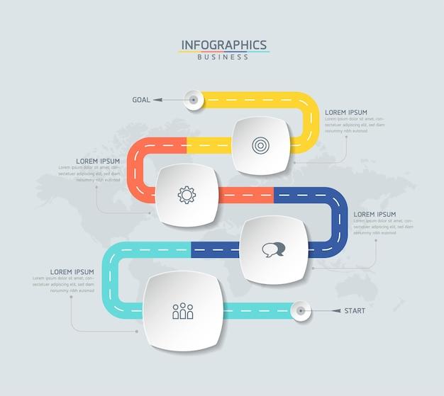 Tableau de modèle de conception d'infographie avec 4 options ou étapes