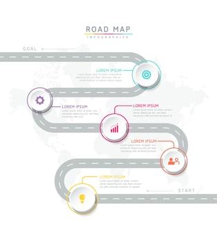 Tableau de modèle de conception d'infographie avec 5 options ou étapes