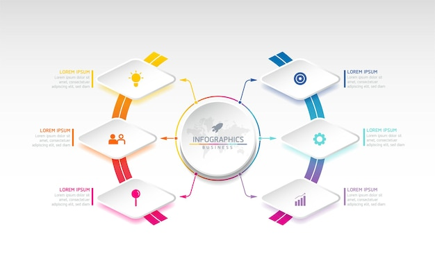 Tableau de modèle de conception d'infographie avec 6 options ou étapes