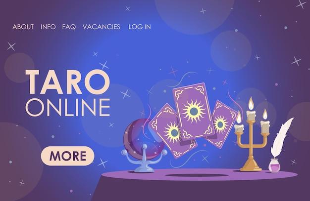 Tableau de modèle de page de destination plate en ligne taro avec bougies