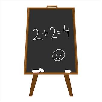 Tableau noir avec cours de mathématiques écrit 2 2 à la craie sur une ardoise noire vector illustration