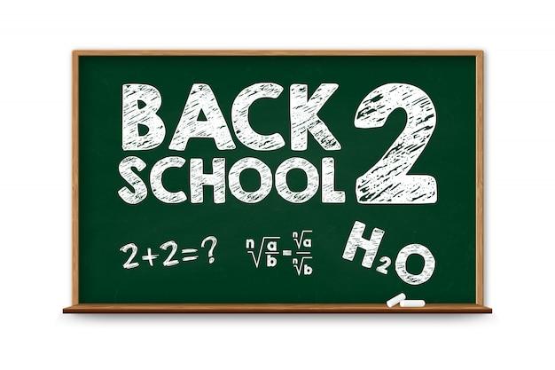 Tableau noir de l'école avec cadre en bois, effacé tableau noir sale.