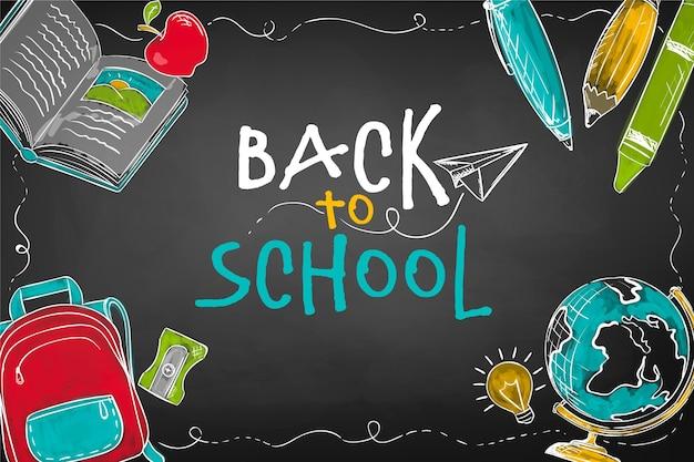 Tableau noir enfants retour au concept de l'école
