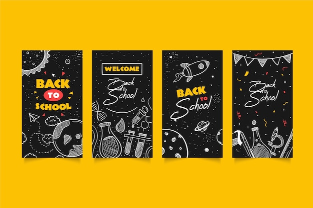 Tableau noir des histoires instagram de retour à l'école