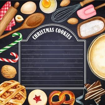 Tableau noir illustré à l'aquarelle avec des biscuits de noël et des ustensiles de cuisine