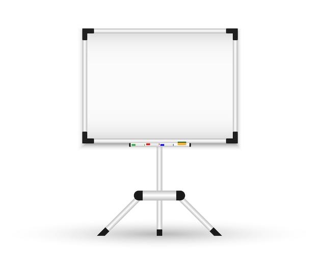 Tableau noir magnétique sur un trépied. tableau de conférence réaliste.
