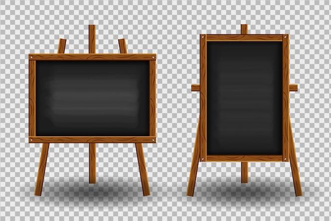 Tableau noir réaliste avec cadre en bois