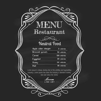 Tableau noir restaurant menu vintage étiquette de cadre dessiné à la main