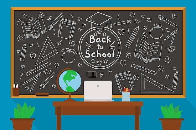 Tableau noir retour au papier peint de l'école