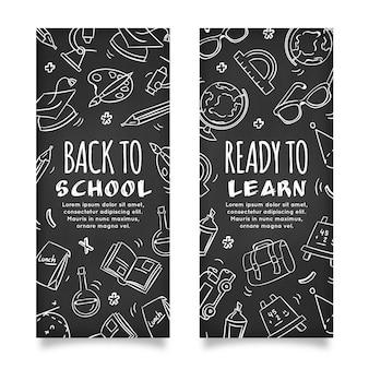 Tableau noir de retour aux bannières de l'école